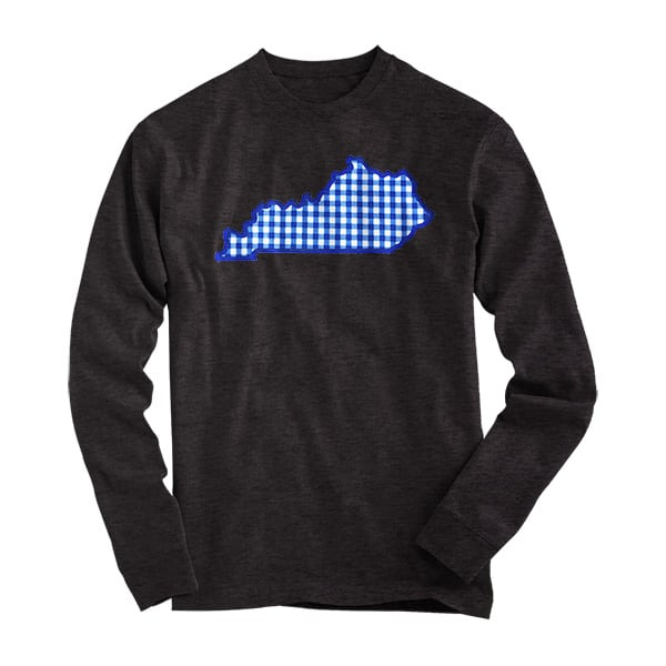 Mens Blue Gingham State L/S