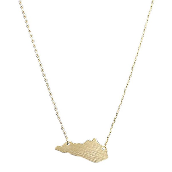 16″Gold State Pendant Necklace