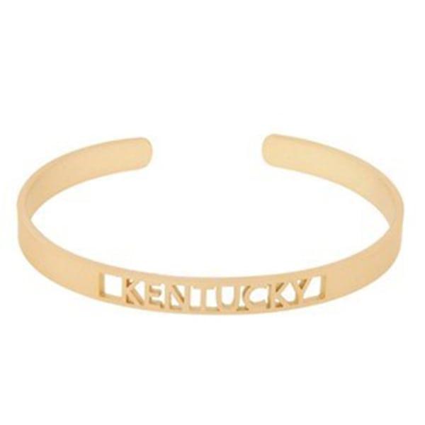 Gold Open KY Cuff Bracelet