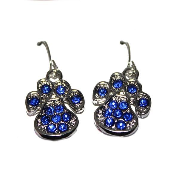 Earring, sapphire paw dangle