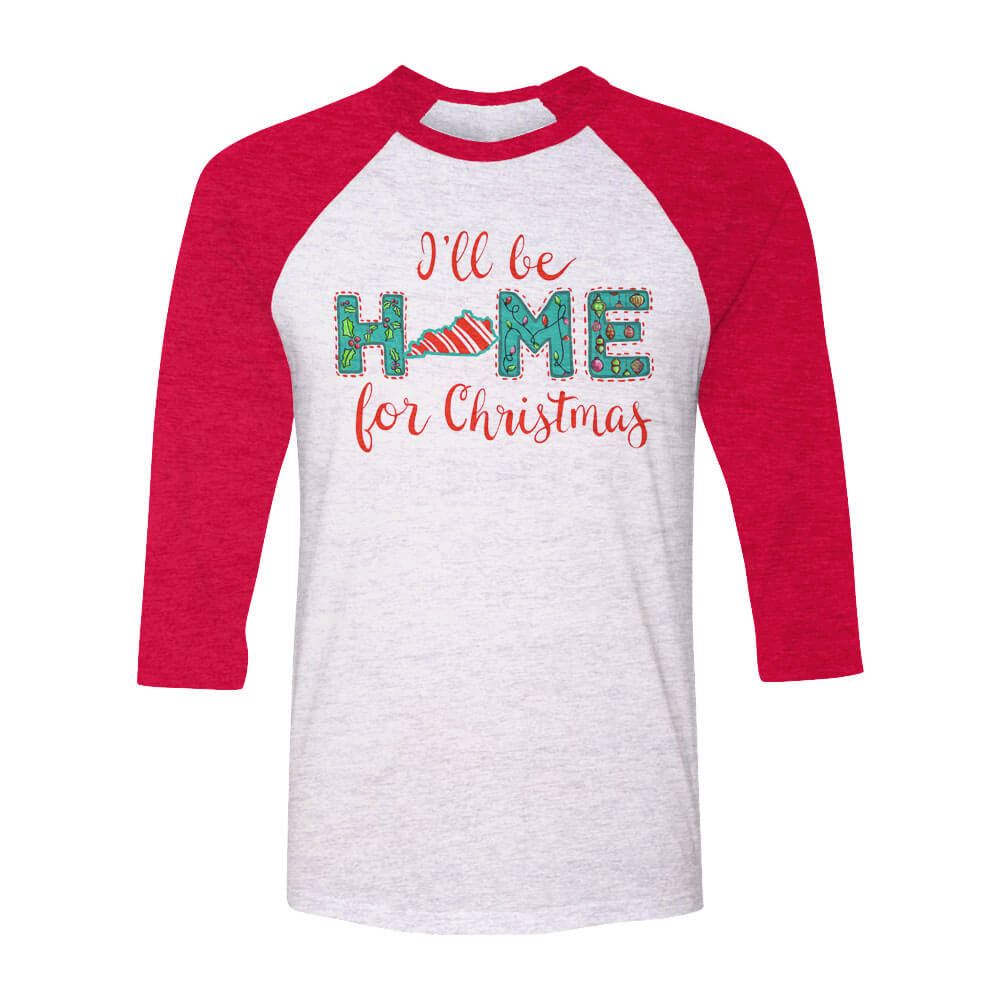 KY I\'ll Be Home Xmas Raglan – Kentucky Branded