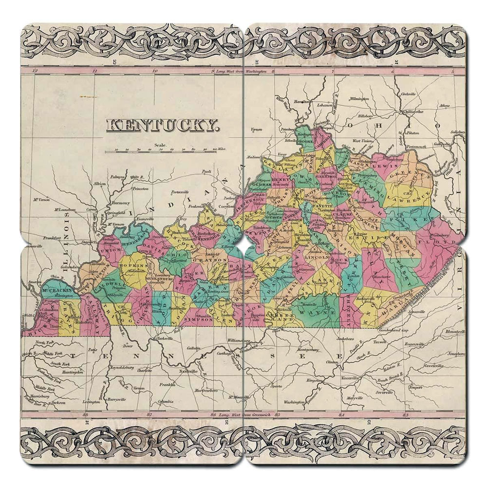 KY Old World Map Coasters 4 pk